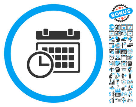 Date and Time pictograph with bonus calendar and time management symbols. Vector illustration style is flat iconic bicolor symbols, blue and gray colors, white background.