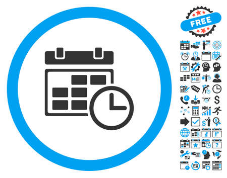 Date and Time icon with bonus calendar and time management graphic icons. Vector illustration style is flat iconic bicolor symbols, blue and gray colors, white background.
