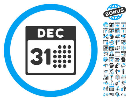 first form: Last Year Day icon with bonus calendar and time management images. Vector illustration style is flat iconic bicolor symbols, blue and gray colors, white background.