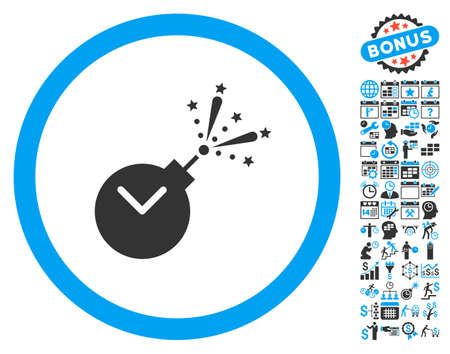 explosive watch: Time Fireworks Charge icon with bonus calendar and time management clip art. Vector illustration style is flat iconic bicolor symbols, blue and gray colors, white background. Illustration