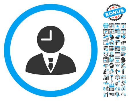 temporary workers: Time Manager pictograph with bonus calendar and time management icon set. Vector illustration style is flat iconic bicolor symbols, blue and gray colors, white background.