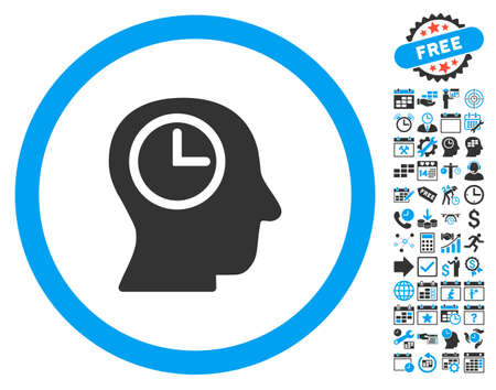 temporary workers: Time Manager pictograph with bonus calendar and time management pictograph collection. Vector illustration style is flat iconic bicolor symbols, blue and gray colors, white background.