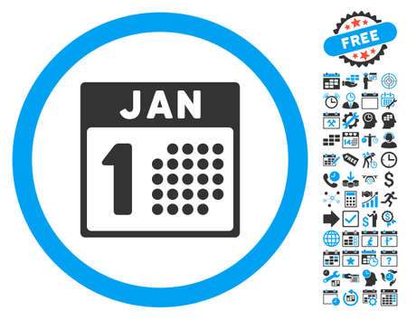 1 january: January First icon with bonus calendar and time management images. Vector illustration style is flat iconic bicolor symbols, blue and gray colors, white background.