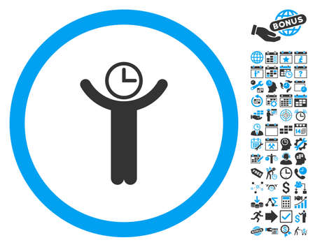 temporary: Time Manager pictograph with bonus calendar and time management graphic icons. Vector illustration style is flat iconic bicolor symbols, blue and gray colors, white background.