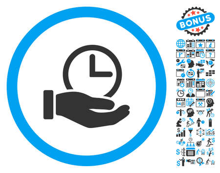 Time Service Hand pictograph with bonus calendar and time management design elements. Vector illustration style is flat iconic bicolor symbols, blue and gray colors, white background. Illustration