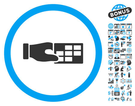 cronograma: Timetable Properties Hand pictograph with bonus calendar and time management graphic icons. Vector illustration style is flat iconic bicolor symbols, blue and gray colors, white background. Vectores