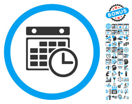 cronograma: Timetable pictograph with bonus calendar and time management icon set. Vector illustration style is flat iconic bicolor symbols, blue and gray colors, white background. Vectores
