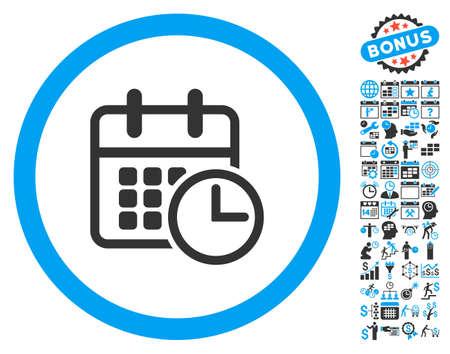 cronograma: icono de calendario con el calendario de la prima y la recogida de gestión pictograma tiempo. ilustración vectorial estilo es llano bicolor símbolos icónicos, colores azul y gris, fondo blanco.