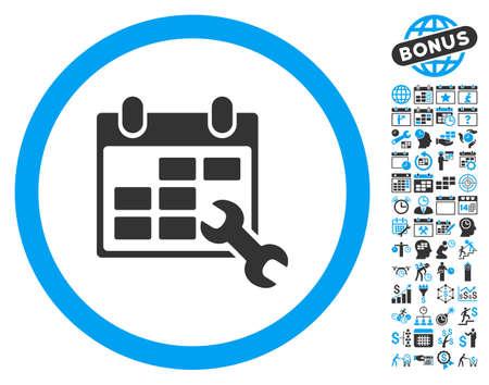 cronograma: pictograma Horarios llave Configurar con el calendario de bonificación y elementos de diseño de la gestión del tiempo. ilustración vectorial estilo es llano bicolor símbolos icónicos, colores azul y gris, fondo blanco.