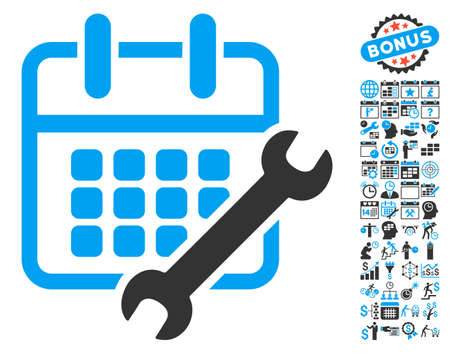 Calendar Configure pictograph with bonus calendar and time management pictograph collection. Vector illustration style is flat iconic bicolor symbols, blue and gray colors, white background. Illustration