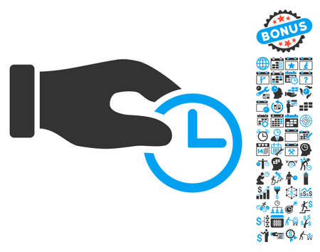 timed: Clock Properties Hand icon with bonus calendar and time management icon set. Vector illustration style is flat iconic bicolor symbols, blue and gray colors, white background.