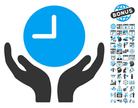 timed: Clock Care Hands pictograph with bonus calendar and time management icon set. Vector illustration style is flat iconic bicolor symbols, blue and gray colors, white background.