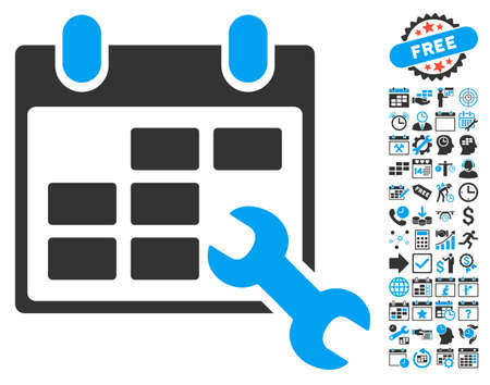 configure: Configure Timetable pictograph with bonus calendar and time management graphic icons. Vector illustration style is flat iconic bicolor symbols, blue and gray colors, white background.