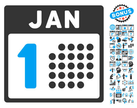 january 1st: January First pictograph with bonus calendar and time management pictures. Vector illustration style is flat iconic bicolor symbols, blue and gray colors, white background. Illustration