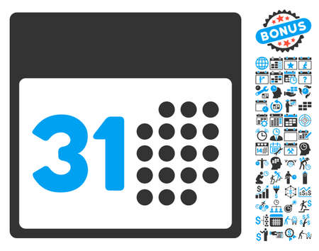 first form: Last Month Day icon with bonus calendar and time management icon set. Vector illustration style is flat iconic bicolor symbols, blue and gray colors, white background. Illustration