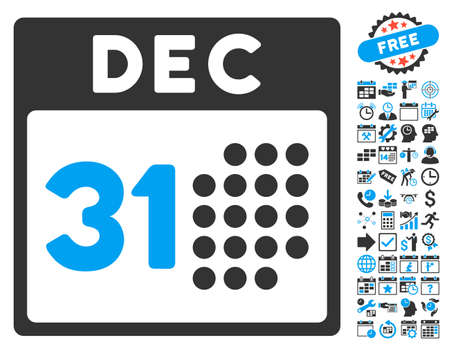 first form: Last Year Day pictograph with bonus calendar and time management images. Vector illustration style is flat iconic bicolor symbols, blue and gray colors, white background.