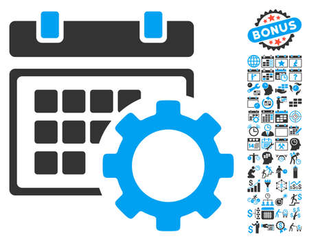 schedule system: Schedule Options pictograph with bonus calendar and time management graphic icons. Vector illustration style is flat iconic bicolor symbols, blue and gray colors, white background.