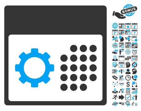 schedule system: Service Calendar icon with bonus calendar and time management images. Vector illustration style is flat iconic bicolor symbols, blue and gray colors, white background.