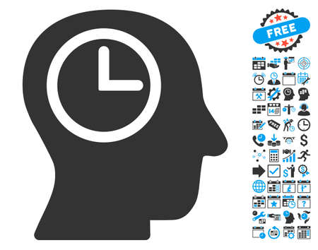 temporary workers: Time Manager icon with bonus calendar and time management pictures. Vector illustration style is flat iconic bicolor symbols, blue and gray colors, white background.