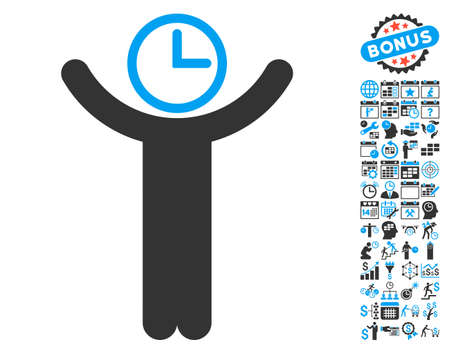 temporary workers: Time Manager icon with bonus calendar and time management graphic icons. Vector illustration style is flat iconic bicolor symbols, blue and gray colors, white background.