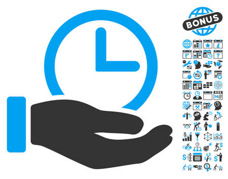 timed: Time Service Hand pictograph with bonus calendar and time management clip art. Vector illustration style is flat iconic bicolor symbols, blue and gray colors, white background.