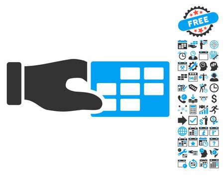 cronograma: Horarios pictograma Propiedades Mano con calendario de la prima y la recogida de gestión pictograma tiempo. ilustración vectorial estilo es llano bicolor símbolos icónicos, colores azul y gris, fondo blanco.