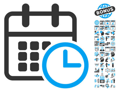cronograma: Timetable pictograph with bonus calendar and time management pictogram. Vector illustration style is flat iconic bicolor symbols, blue and gray colors, white background.