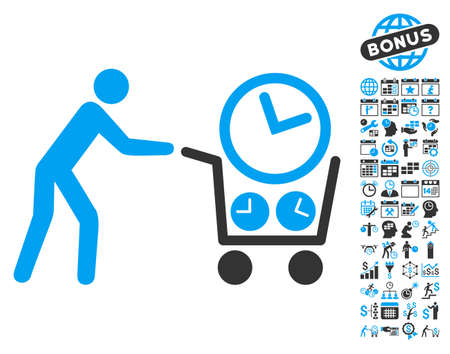 Clock Shopping pictograph with bonus calendar and time management graphic icons. Vector illustration style is flat iconic bicolor symbols, blue and gray colors, white background.