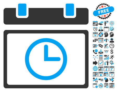 timed: Date Time icon with bonus calendar and time management clip art. Vector illustration style is flat iconic bicolor symbols, blue and gray colors, white background.