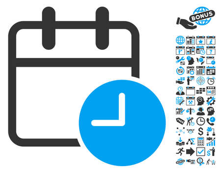 timed: Date Time pictograph with bonus calendar and time management graphic icons. Vector illustration style is flat iconic bicolor symbols, blue and gray colors, white background. Illustration