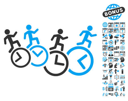 timed: Men Running Over Clocks icon with bonus calendar and time management images. Vector illustration style is flat iconic bicolor symbols, blue and gray colors, white background.