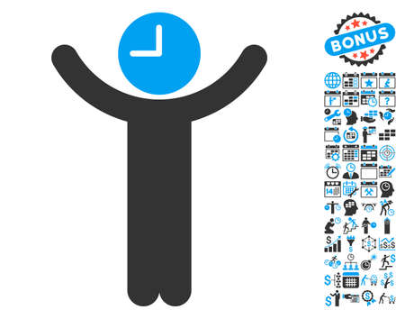 temporary workers: Time Boss pictograph with bonus calendar and time management graphic icons. Vector illustration style is flat iconic bicolor symbols, blue and gray colors, white background. Illustration
