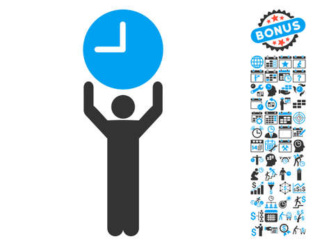 temporary workers: Time Manager icon with bonus calendar and time management pictogram. Vector illustration style is flat iconic bicolor symbols, blue and gray colors, white background.