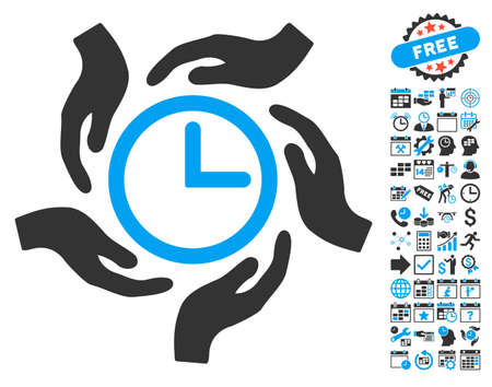 hands  hour: Time Care pictograph with bonus calendar and time management symbols. Vector illustration style is flat iconic bicolor symbols, blue and gray colors, white background. Illustration