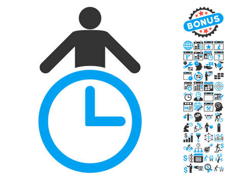 Time Manager icon with bonus calendar and time management images. Vector illustration style is flat iconic bicolor symbols, blue and gray colors, white background.