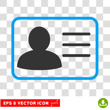 persona: Account Card vector icon. Image style is a flat blue and gray pictogram symbol. Illustration