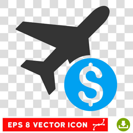 avia: Airplane Price vector icon. Image style is a flat blue and gray pictogram symbol.