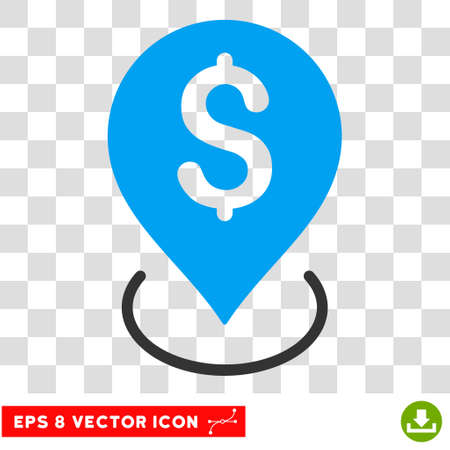Bank Placement vector icon. Image style is a flat blue and gray icon symbol. Illustration