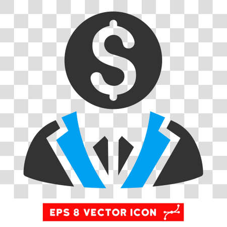 collectors: Banker vector icon. Image style is a flat blue and gray icon symbol.