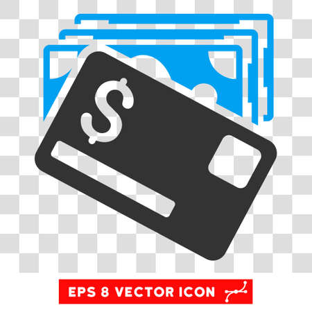banknotes: Banknotes and Card vector icon. Image style is a flat blue and gray pictogram symbol.