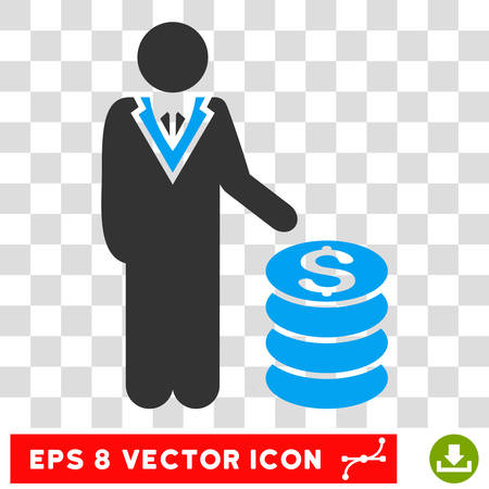moneymaker: Businessman vector icon. Image style is a flat blue and gray pictogram symbol.