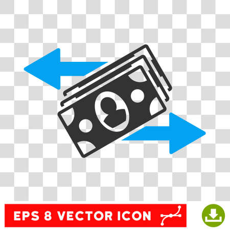 banknotes: Banknotes Payments vector icon. Image style is a flat blue and gray pictogram symbol.
