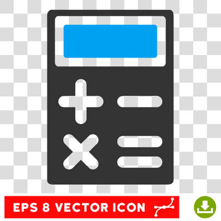 adder: Calculator vector icon. Image style is a flat blue and gray icon symbol.
