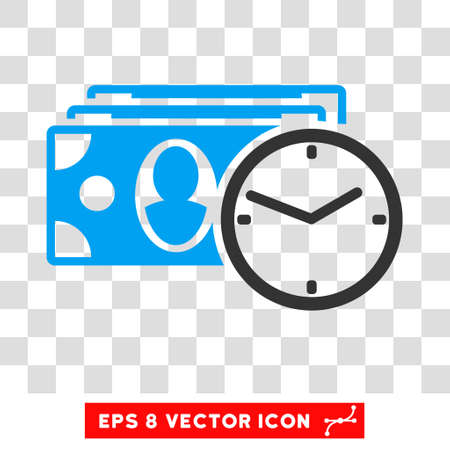 timed: Cash Credit vector icon. Image style is a flat blue and gray icon symbol. Illustration