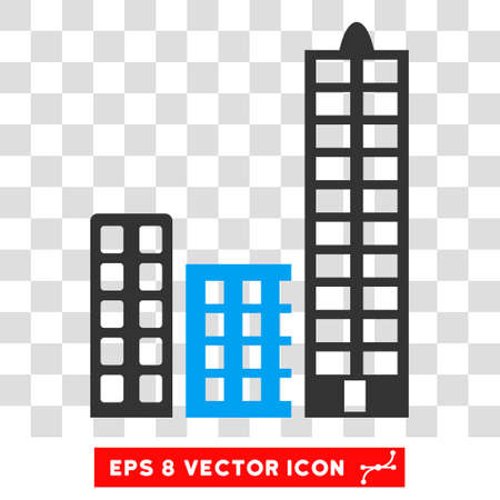 polis: City vector icon. Image style is a flat blue and gray pictograph symbol.