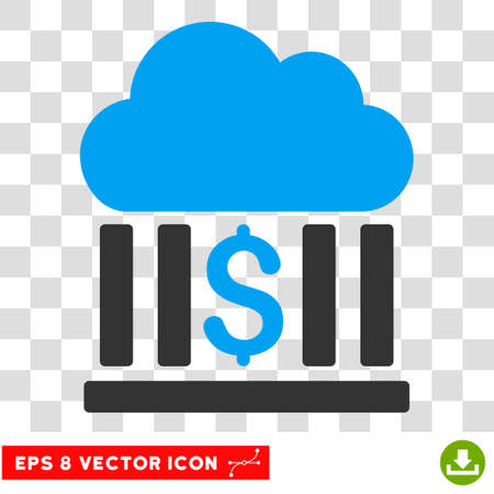 Cloud Bank vector icon. Image style is a flat blue and gray pictogram symbol. Illustration