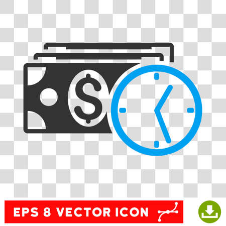 timed: Credit vector icon. Image style is a flat blue and gray pictograph symbol.