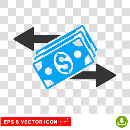 banknotes: Dollar Banknotes Payments vector icon. Image style is a flat blue and gray pictogram symbol.
