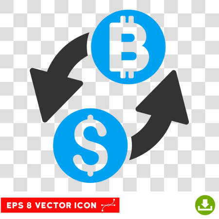 dollar symbol: Dollar Bitcoin Exchange vector icon. Image style is a flat blue and gray iconic symbol.