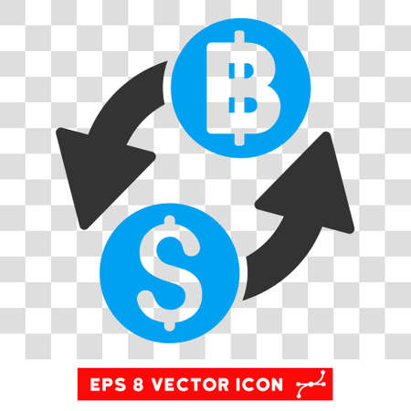 bank activities: Dollar Baht Exchange vector icon. Image style is a flat blue and gray pictogram symbol.